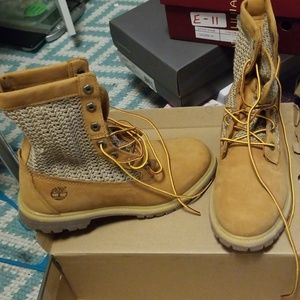 Tan Timberland high top boots